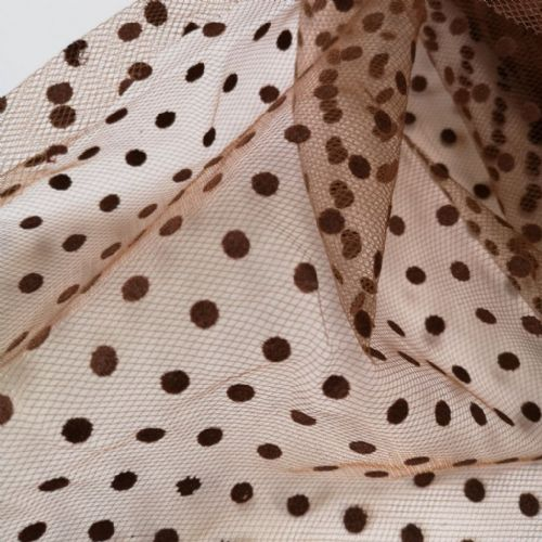Brown Flocked Dots Tulle 54""